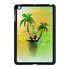 Surfing, Surfboarder With Palm And Flowers And Decorative Floral Elements Apple iPad Mini Case (Black)
