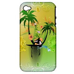 Surfing, Surfboarder With Palm And Flowers And Decorative Floral Elements Apple iPhone 4/4S Hardshell Case (PC+Silicone)