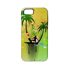 Surfing, Surfboarder With Palm And Flowers And Decorative Floral Elements Apple iPhone 5 Classic Hardshell Case (PC+Silicone)