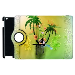 Surfing, Surfboarder With Palm And Flowers And Decorative Floral Elements Apple iPad 2 Flip 360 Case