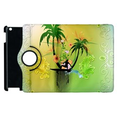 Surfing, Surfboarder With Palm And Flowers And Decorative Floral Elements Apple iPad 3/4 Flip 360 Case