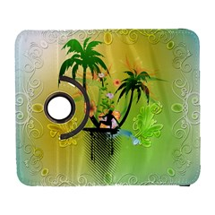 Surfing, Surfboarder With Palm And Flowers And Decorative Floral Elements Samsung Galaxy S  III Flip 360 Case