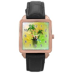 Surfing, Surfboarder With Palm And Flowers And Decorative Floral Elements Rose Gold Watches