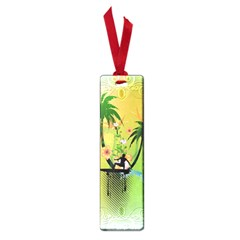 Surfing, Surfboarder With Palm And Flowers And Decorative Floral Elements Small Book Marks