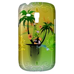 Surfing, Surfboarder With Palm And Flowers And Decorative Floral Elements Samsung Galaxy S3 MINI I8190 Hardshell Case