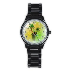Surfing, Surfboarder With Palm And Flowers And Decorative Floral Elements Stainless Steel Round Watches