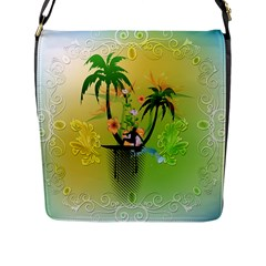 Surfing, Surfboarder With Palm And Flowers And Decorative Floral Elements Flap Messenger Bag (L)
