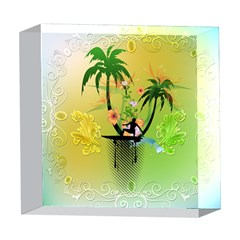 Surfing, Surfboarder With Palm And Flowers And Decorative Floral Elements 5  x 5  Acrylic Photo Blocks