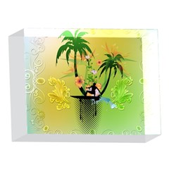 Surfing, Surfboarder With Palm And Flowers And Decorative Floral Elements 5 x 7  Acrylic Photo Blocks