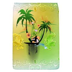 Surfing, Surfboarder With Palm And Flowers And Decorative Floral Elements Flap Covers (S)