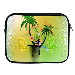 Surfing, Surfboarder With Palm And Flowers And Decorative Floral Elements Apple iPad 2/3/4 Zipper Cases