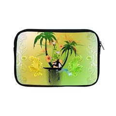 Surfing, Surfboarder With Palm And Flowers And Decorative Floral Elements Apple iPad Mini Zipper Cases
