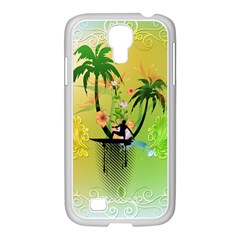 Surfing, Surfboarder With Palm And Flowers And Decorative Floral Elements Samsung GALAXY S4 I9500/ I9505 Case (White)