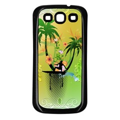 Surfing, Surfboarder With Palm And Flowers And Decorative Floral Elements Samsung Galaxy S3 Back Case (Black)