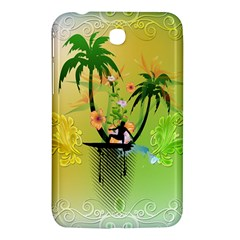 Surfing, Surfboarder With Palm And Flowers And Decorative Floral Elements Samsung Galaxy Tab 3 (7 ) P3200 Hardshell Case