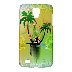 Surfing, Surfboarder With Palm And Flowers And Decorative Floral Elements Galaxy S4 Active