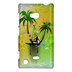 Surfing, Surfboarder With Palm And Flowers And Decorative Floral Elements Nokia Lumia 720