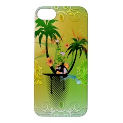 Surfing, Surfboarder With Palm And Flowers And Decorative Floral Elements Apple iPhone 5S Hardshell Case