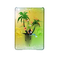 Surfing, Surfboarder With Palm And Flowers And Decorative Floral Elements iPad Mini 2 Hardshell Cases