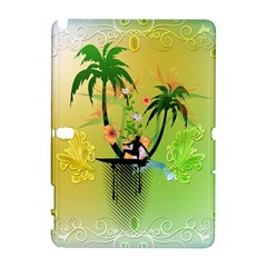 Surfing, Surfboarder With Palm And Flowers And Decorative Floral Elements Samsung Galaxy Note 10.1 (P600) Hardshell Case