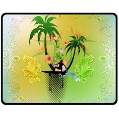 Surfing, Surfboarder With Palm And Flowers And Decorative Floral Elements Double Sided Fleece Blanket (Medium)