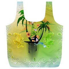 Surfing, Surfboarder With Palm And Flowers And Decorative Floral Elements Full Print Recycle Bags (L)