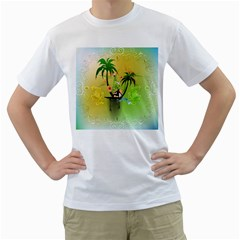 Surfing, Surfboarder With Palm And Flowers And Decorative Floral Elements Men s T-Shirt (White)