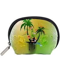 Surfing, Surfboarder With Palm And Flowers And Decorative Floral Elements Accessory Pouches (Small)