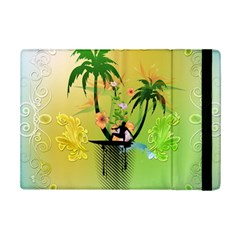 Surfing, Surfboarder With Palm And Flowers And Decorative Floral Elements iPad Mini 2 Flip Cases