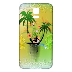 Surfing, Surfboarder With Palm And Flowers And Decorative Floral Elements Samsung Galaxy S5 Back Case (White)