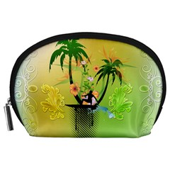 Surfing, Surfboarder With Palm And Flowers And Decorative Floral Elements Accessory Pouches (Large)