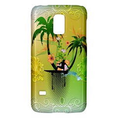 Surfing, Surfboarder With Palm And Flowers And Decorative Floral Elements Galaxy S5 Mini