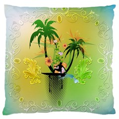 Surfing, Surfboarder With Palm And Flowers And Decorative Floral Elements Large Flano Cushion Cases (Two Sides)