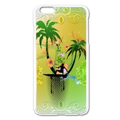 Surfing, Surfboarder With Palm And Flowers And Decorative Floral Elements Apple iPhone 6 Plus/6S Plus Enamel White Case