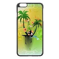 Surfing, Surfboarder With Palm And Flowers And Decorative Floral Elements Apple iPhone 6 Plus/6S Plus Black Enamel Case