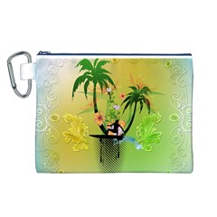 Surfing, Surfboarder With Palm And Flowers And Decorative Floral Elements Canvas Cosmetic Bag (L)