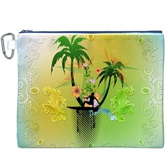 Surfing, Surfboarder With Palm And Flowers And Decorative Floral Elements Canvas Cosmetic Bag (XXXL)