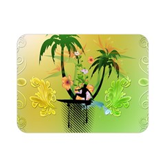 Surfing, Surfboarder With Palm And Flowers And Decorative Floral Elements Double Sided Flano Blanket (Mini)