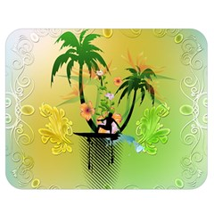 Surfing, Surfboarder With Palm And Flowers And Decorative Floral Elements Double Sided Flano Blanket (Medium)
