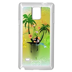Surfing, Surfboarder With Palm And Flowers And Decorative Floral Elements Samsung Galaxy Note 4 Case (White)