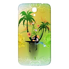 Surfing, Surfboarder With Palm And Flowers And Decorative Floral Elements Samsung Galaxy Mega I9200 Hardshell Back Case