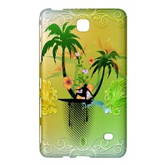 Surfing, Surfboarder With Palm And Flowers And Decorative Floral Elements Samsung Galaxy Tab 4 (7 ) Hardshell Case