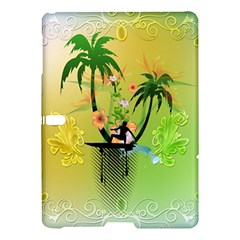 Surfing, Surfboarder With Palm And Flowers And Decorative Floral Elements Samsung Galaxy Tab S (10 5 ) Hardshell Case