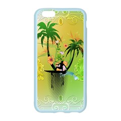 Surfing, Surfboarder With Palm And Flowers And Decorative Floral Elements Apple Seamless iPhone 6/6S Case (Color)