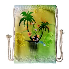 Surfing, Surfboarder With Palm And Flowers And Decorative Floral Elements Drawstring Bag (Large)