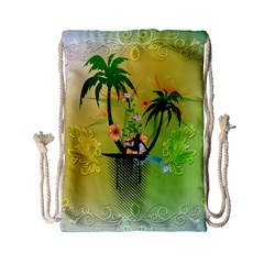 Surfing, Surfboarder With Palm And Flowers And Decorative Floral Elements Drawstring Bag (Small)