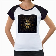 Music The Word With Wonderful Decorative Floral Elements In Gold Women s Cap Sleeve T