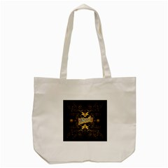 Music The Word With Wonderful Decorative Floral Elements In Gold Tote Bag (Cream)