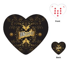 Music The Word With Wonderful Decorative Floral Elements In Gold Playing Cards (Heart)