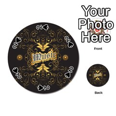 Music The Word With Wonderful Decorative Floral Elements In Gold Playing Cards 54 (round)
